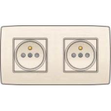 Dubbel stopcontact horizontaal met penaarde en kinderveiligheid, inbouwdiepte 21mm, incl. afdekplaat Cream