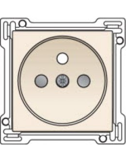 Afwerkingsset voor stopcontact met penaarde en kinderveiligheid, inbouwdiepte 28,5mm, Cream