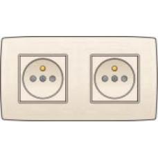 Dubbel stopcontact horizontaal met penaarde en kinderveiligheid, inbouwdiepte 28,5mm, incl. afdekplaat Cream