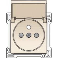 Afwerkingsset voor stopcontact met klapdeksel, penaarde en kinderveiligheid, inbouwdiepte 28,5mm, original cream