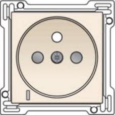Afwerkingsset met doorschijnende lens voor stopcontact met spanningsaanduiding, penaarde en kinderveiligheid, inbouwdiepte 28,5mm, Cream