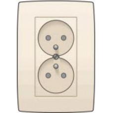 Dubbel stopcontact verticaal met penaarde en kinderveiligheid, inbouwdiepte 31,5mm, incl. afdekplaat Cream