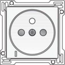 Afwerkingsset met doorschijnende lens voor stopcontact met spanningsaanduiding, penaarde en kinderveiligheid, inbouwdiepte 28,5mm, White