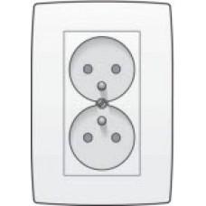 Dubbel stopcontact verticaal met penaarde en kinderveiligheid, inbouwdiepte 31,5mm, incl. afdekplaat White