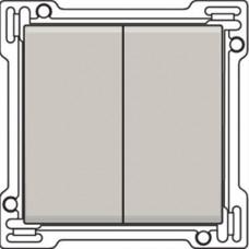 Afwerkingsset voor serieschakelaar, wisselschakelaar + drukknop N.O., dubbele wisselschakelaar of dubbele drukknop N.O. of N.G. , Light grey