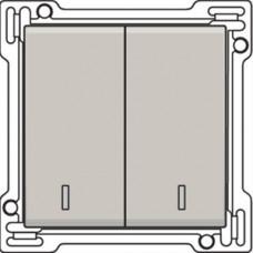 Afwerkingsset met dubbele lens voor serieschakelaar, wisselschakelaar + drukknop N.O., dubbele wisselschakelaar of dubbele drukknop N.O. of N.G., Light grey