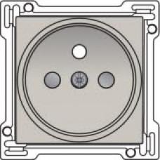 Afwerkingsset voor stopcontact met penaarde en kinderveiligheid, inbouwdiepte 21mm, Light grey