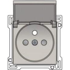 Afwerkingsset voor stopcontact met penaarde, klapdeksel en kinderveiligheid, inbouwdiepte 28,5mm, Light grey