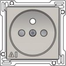 Afwerkingsset voor stopcontact met overspanningsbeveiliging, penaarde en kinderveiligheid, inbouwdiepte 28,5mm, incl. overspanningsmodule met rode led, Light grey