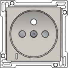Afwerkingsset met doorschijnende lens voor stopcontact met spanningsaanduiding, penaarde en kinderveiligheid, inbouwdiepte 28,5mm, Light grey