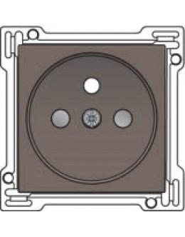Afwerkingsset voor stopcontact met penaarde en kinderveiligheid, inbouwdiepte 28,5mm, Greige