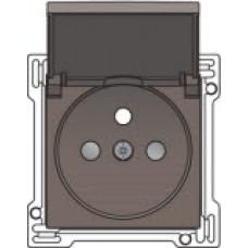 Afwerkingsset voor stopcontact met penaarde, klapdeksel en kinderveiligheid, inbouwdiepte 28,5mm, Greige