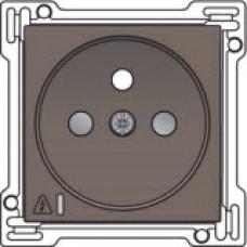 Afwerkingsset voor stopcontact met overspanningsbeveiliging, penaarde en kinderveiligheid, inbouwdiepte 28,5mm, incl. overspanningsmodule met rode led, Greige