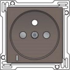 Afwerkingsset met doorschijnende lens voor stopcontact met spanningsaanduiding, penaarde en kinderveiligheid, inbouwdiepte 28,5mm, Greige