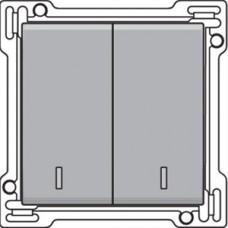 Afwerkingsset met dubbele lens voor serieschakelaar, wisselschakelaar + drukknop N.O., dubbele wisselschakelaar of dubbele drukknop N.O. of N.G., Sterling