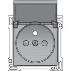 Afwerkingsset voor stopcontact met penaarde, klapdeksel en kinderveiligheid, inbouwdiepte 28,5mm, Sterling