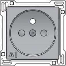 Afwerkingsset voor stopcontact met overspanningsbeveiliging, penaarde en kinderveiligheid, inbouwdiepte 28,5mm, incl. overspanningsmodule met rode led, Sterling