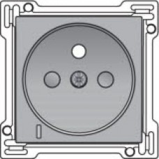 Afwerkingsset met doorschijnende lens voor stopcontact met spanningsaanduiding, penaarde en kinderveiligheid, inbouwdiepte 28,5mm, Sterling