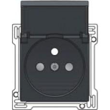Afwerkingsset voor stopcontact met penaarde, klapdeksel en kinderveiligheid, inbouwdiepte 28,5mm, Anthracite