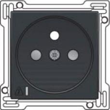 Afwerkingsset voor stopcontact met overspanningsbeveiliging, penaarde en kinderveiligheid, inbouwdiepte 28,5mm, incl. overspanningsmodule met rode led, Anthracite
