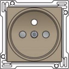 Afwerkingsset voor stopcontact met penaarde en kinderveiligheid, inbouwdiepte 21mm, Bronze