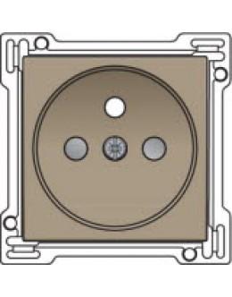 Afwerkingsset voor stopcontact met penaarde en kinderveiligheid, inbouwdiepte 28,5mm, Bronze