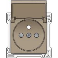 Afwerkingsset voor stopcontact met penaarde, klapdeksel en kinderveiligheid, inbouwdiepte 28,5mm, Bronze