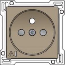 Afwerkingsset voor stopcontact met overspanningsbeveiliging, penaarde en kinderveiligheid, inbouwdiepte 28,5mm, incl. overspanningsmodule met rode led, Bronze