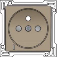 Afwerkingsset met doorschijnende lens voor stopcontact met spanningsaanduiding, penaarde en kinderveiligheid, inbouwdiepte 28,5mm, Bronze