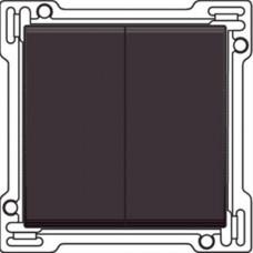 Afwerkingsset voor serieschakelaar, wisselschakelaar + drukknop N.O., dubbele wisselschakelaar of dubbele drukknop N.O. of N.G. , Dark brown
