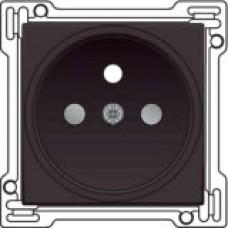 Afwerkingsset voor stopcontact met penaarde en kinderveiligheid, inbouwdiepte 21mm, Dark brown
