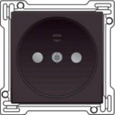 Afwerkingsset voor stopcontact zonder aarding met kinderveiligheid, Dark brown