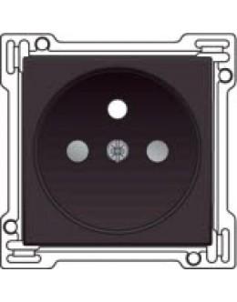 Afwerkingsset voor stopcontact met penaarde en kinderveiligheid, inbouwdiepte 28,5mm, Dark brown