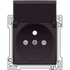 Afwerkingsset voor stopcontact met penaarde, klapdeksel en kinderveiligheid, inbouwdiepte 28,5mm, Dark brown