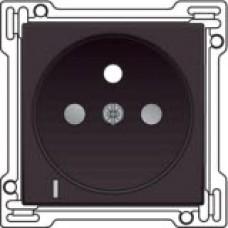 Afwerkingsset met doorschijnende lens voor stopcontact met spanningsaanduiding, penaarde en kinderveiligheid, inbouwdiepte 28,5mm, Dark brown