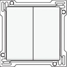 Afwerkingsset voor serieschakelaar, wisselschakelaar + drukknop N.O., dubbele wisselschakelaar of dubbele drukknop N.O. of N.G. , White coated