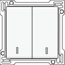 Afwerkingsset met dubbele lens voor serieschakelaar, wisselschakelaar + drukknop N.O., dubbele wisselschakelaar of dubbele drukknop N.O. of N.G., White coated