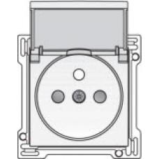 Afwerkingsset voor stopcontact met penaarde, klapdeksel en kinderveiligheid, inbouwdiepte 28,5mm, White coated