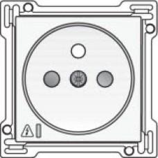 Afwerkingsset voor stopcontact met overspanningsbeveiliging, penaarde en kinderveiligheid, inbouwdiepte 28,5mm, incl. overspanningsmodule met rode led, White coated