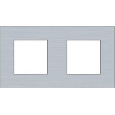 afdekplaat tweevoudig horizontaal pure alu steel grey