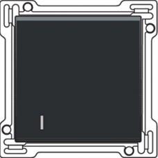 Afwerkingsset met lens voor enkelvoudige schakelaar of drukknop, Black coated