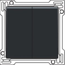 Afwerkingsset voor serieschakelaar, wisselschakelaar + drukknop N.O., dubbele wisselschakelaar of dubbele drukknop N.O. of N.G. , Black coated