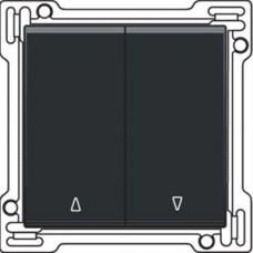 Afwerkingsset voor tweevoudige rolluikdrukknop, black steel