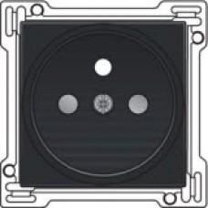 Afwerkingsset voor stopcontact met penaarde en kinderveiligheid, inbouwdiepte 21mm, Black coated