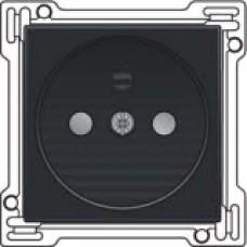 Afwerkingsset voor stopcontact zonder aarding met kinderveiligheid, Black coated