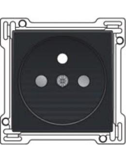 Afwerkingsset voor stopcontact met penaarde en kinderveiligheid, inbouwdiepte 28,5mm, Black coated