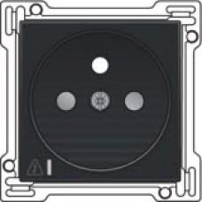 Afwerkingsset voor stopcontact met overspanningsbeveiliging, penaarde en kinderveiligheid, inbouwdiepte 28,5mm, incl. overspanningsmodule met rode led, Black coated