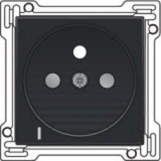 Afwerkingsset met doorschijnende lens voor stopcontact met spanningsaanduiding, penaarde en kinderveiligheid, inbouwdiepte 28,5mm, Black coated
