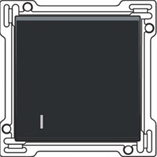 Afwerkingsset met lens voor enkelvoudige schakelaar of drukknop, Bakelite-look piano black coated