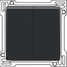Afwerkingsset voor serieschakelaar, wisselschakelaar + drukknop N.O., dubbele wisselschakelaar of dubbele drukknop N.O. of N.G. , Bakelite-look piano black coated